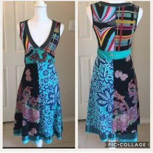 Desigual Boho Dress Colorful Bird Design EUC